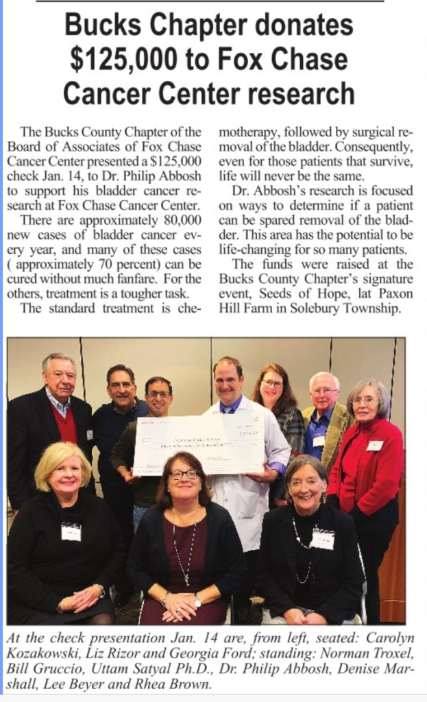 Bucks County PA cancer charity donation