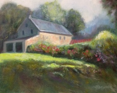 """Addie Hocynec's """"Barn at Fordhook Farm"""" oil painting charity"""