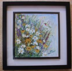 "Sandy Askey-Adams' ""Wildflowers with Hummingbird"""
